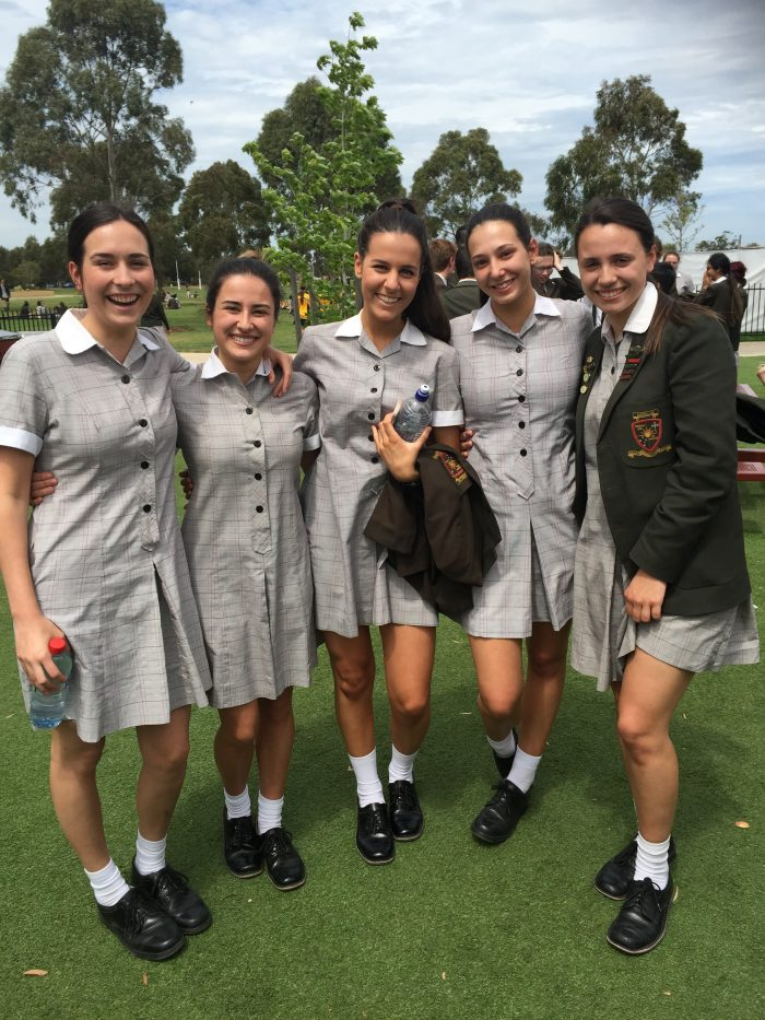 School girls, uniform, year 12, vce studying