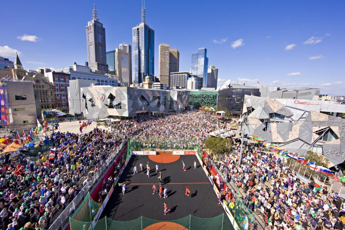 How incredible is this stadium Melissa and her team built in Melbourne's Federation Square for the Homeless World Cup?