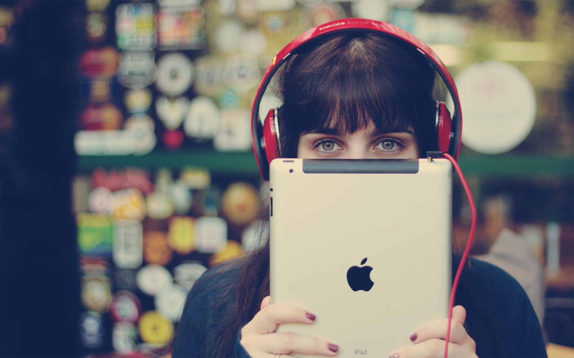 Hi Tech Girl Headphones Ipad Apple Bokeh Photo Vintage Hd
